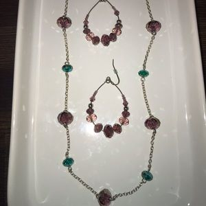 Jewelry - Blue and Purple Beaded Necklace and Earring Set